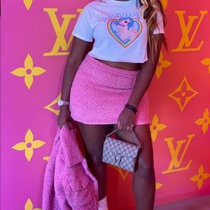 Faux Fur, Cozy Two Piece Pink All Purpose Set